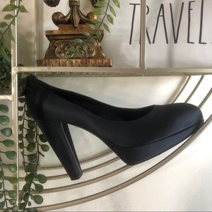LANVIN Satin Platform Pumps Black